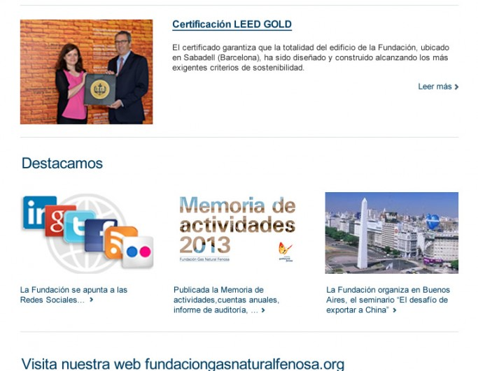 Newsletter Fundacion Gas Natural Fenosa